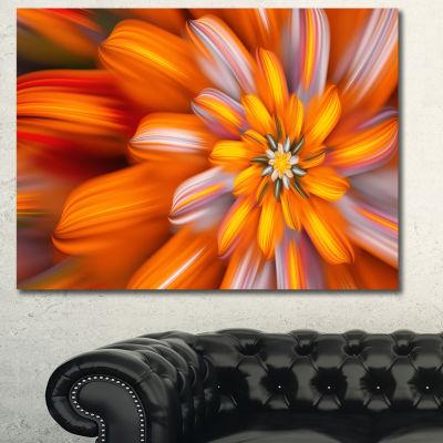 Designart Massive Orange Fractal Flower Canvas Wall Art