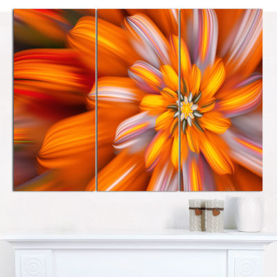 Designart Massive Orange Fractal Flower Canvas Wall Art - 3 Panels
