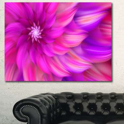Designart Massive Pink Fractal Flower Canvas WallArt