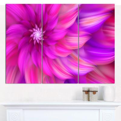 Designart Massive Pink Fractal Flower Canvas WallArt - 3 Panels