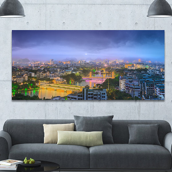 Designart Li River And Karst Hills Panorama Cityscape Canvas Wall ...