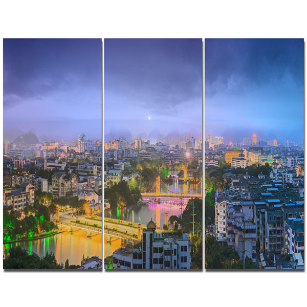 Design Art Li River And Karst Hills Panorama Cityscape Canvas Wall Art - 3 Panels