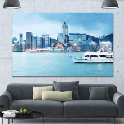 Designart Hong Kong City At Night Cityscape CanvasWall Art