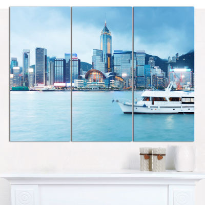 Designart Hong Kong City At Night Cityscape CanvasWall Art - 3 Panels