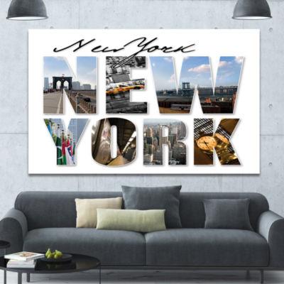 Designart New York City Graphic Montage CityscapeCanvas Wall Art
