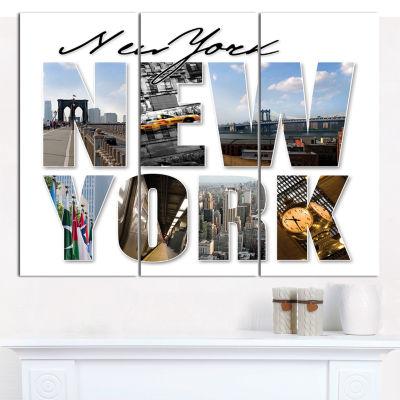 Designart New York City Graphic Montage CityscapeCanvas Wall Art - 3 Panels