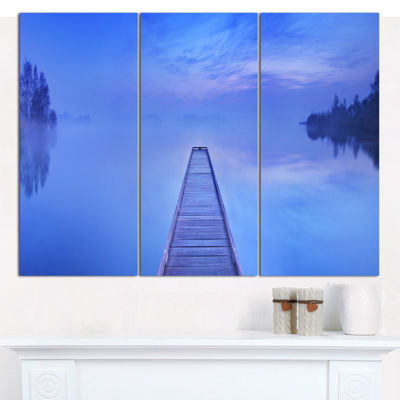 Designart Jetty At Blue Dawn Panorama Bridge Canvas Wall Art - 3 Panels