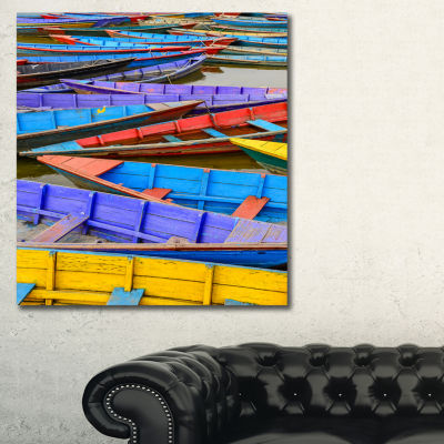 Designart Old Colorful Sail Boats In The Lake BoatCanvas Wall Art