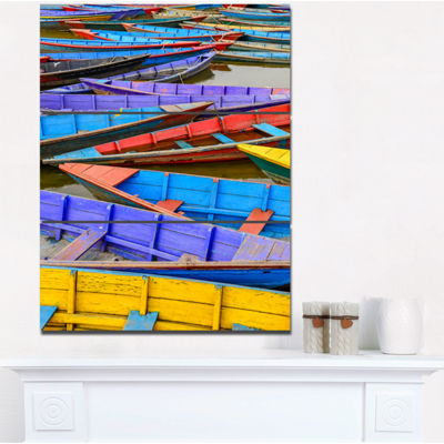 Designart Old Colorful Sail Boats In The Lake BoatCanvas Wall Art - 3 Panels