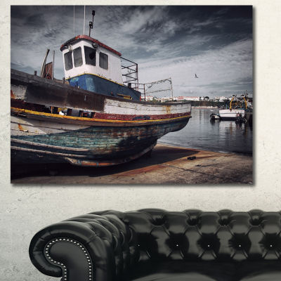 Designart Old Fishing Boat Boat Canvas Wall Art
