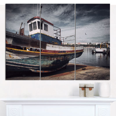 Designart Old Fishing Boat Boat Canvas Wall Art -3Panels