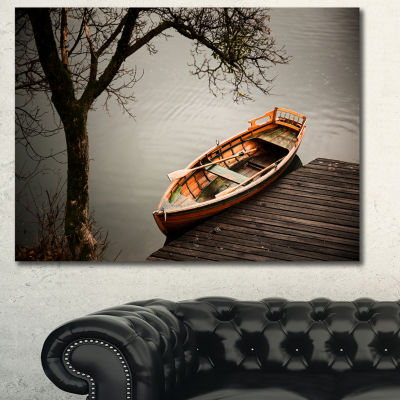Designart Little Rowing Boat Ferry Boat Canvas Wall Art