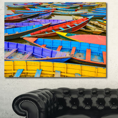 Designart Old Colorful Sailboats In Lake Boat Canvas Wall Art