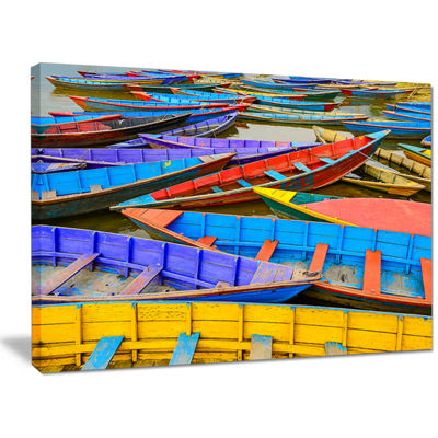 Designart Old Colorful Sailboats In Lake Boat Canvas Wall Art