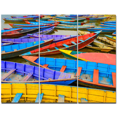 Design Art Old Colorful Sailboats In Lake Boat Canvas Wall Art - 3 Panels