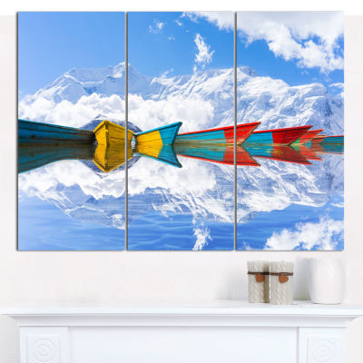 Designart Moving Colorful Boats In Lake Boat Canvas Wall Art - 3 Panels