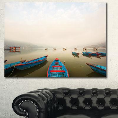 Designart Moving Boats In Mountain Lake Boat Canvas Wall Art
