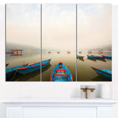 Design Art Moving Boats In Mountain Lake Boat Canvas Wall Art - 3 Panels