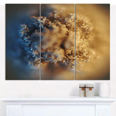 Designart Macro Prickly Texture Brown Abstract Canvas Wall Art - 3 Panels