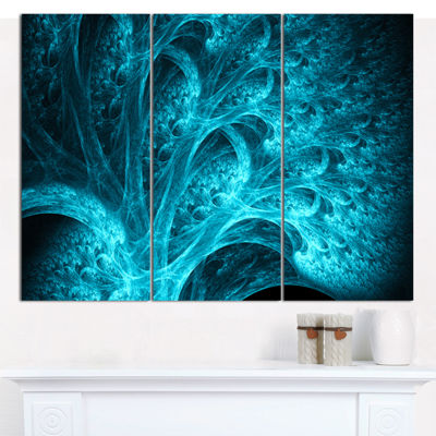 Designart Magical Blue Psychedelic Forest AbstractCanvas Wall Art - 3 Panels
