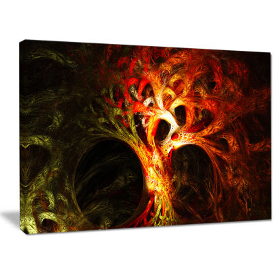 Designart Magical Orange Psychedelic Tree AbstractCanvas Wall Art