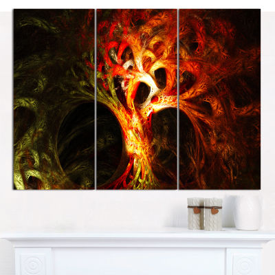 Designart Magical Orange Psychedelic Tree AbstractCanvas Wall Art - 3 Panels