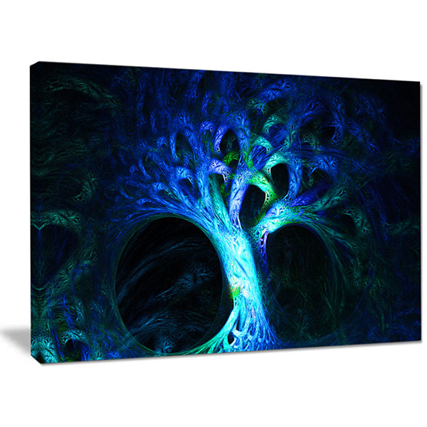 Designart Magical Blue Psychedelic Tree Abstract Canvas Wall Art