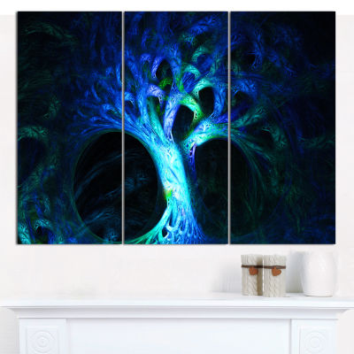 Designart Magical Blue Psychedelic Tree AbstractCanvas Wall Art - 3 Panels