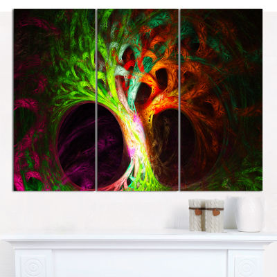 Designart Magical Green Psychedelic Tree AbstractCanvas Wall Art - 3 Panels