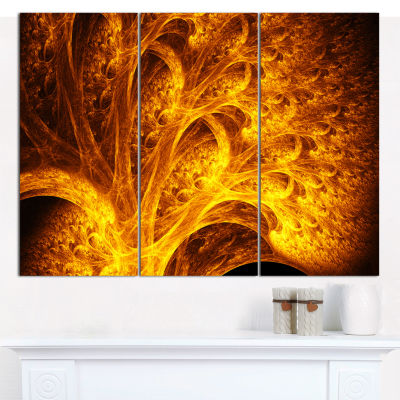 Designart Magical Yellow Psychedelic Tree AbstractCanvas Wall Art - 3 Panels