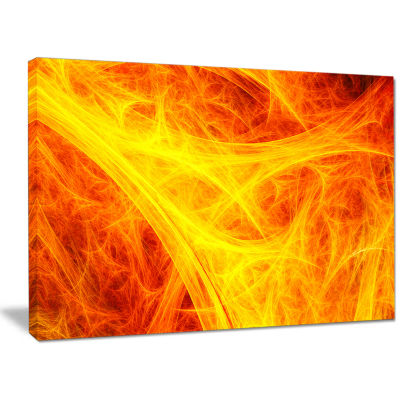 Designart Orange Mystic Psychedelic Texture Abstract Canvas Wall Art