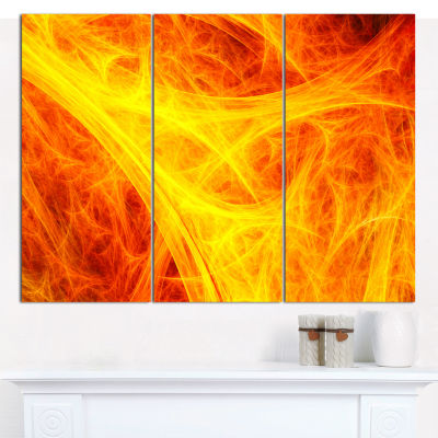 Designart Orange Mystic Psychedelic Texture Abstract Canvas Wall Art - 3 Panels