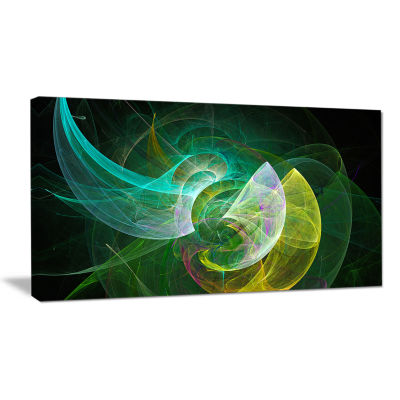 Designart Green Mystic Psychedelic Texture Abstract Canvas Wall Art