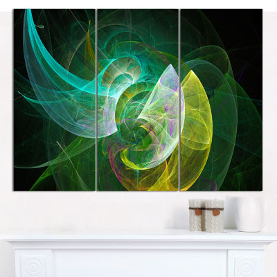 Designart Green Mystic Psychedelic Texture Abstract Canvas Wall Art - 3 Panels