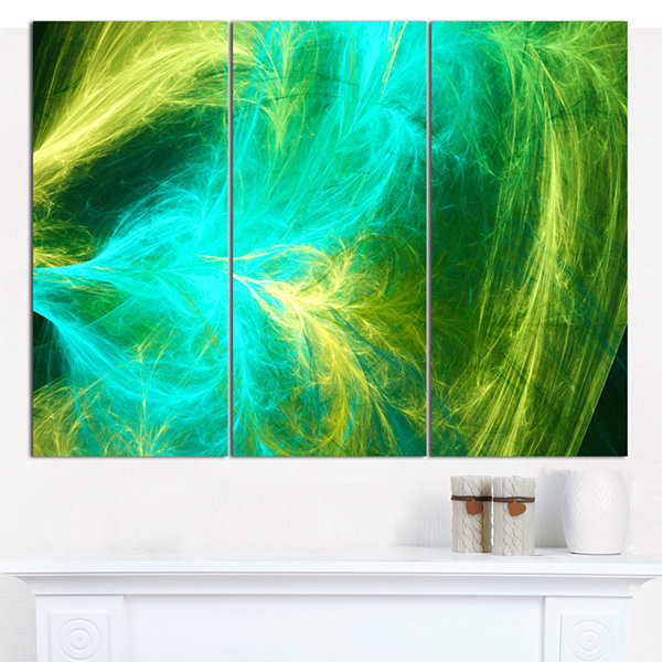 Designart Green Mystic Psychedelic Design AbstractCanvas Wall Art - 3 Panels