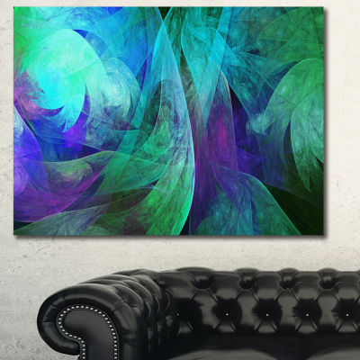Designart Green Fractal Abstract Pattern Canvas Wall Art