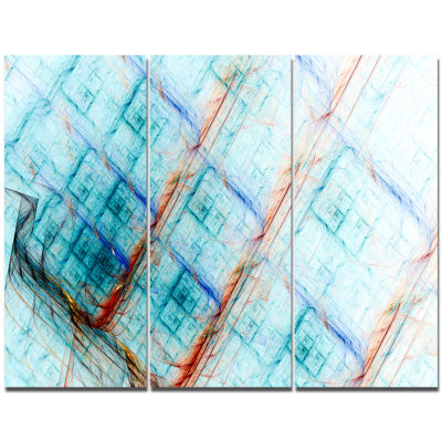 Designart Light Blue Metal Grill Abstract Canvas Wall Art - 3 Panels