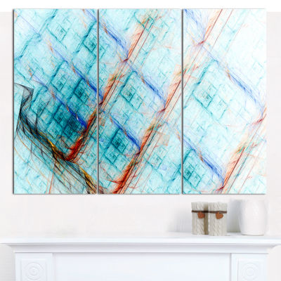 Designart Light Blue Metal Grill Abstract CanvasWall Art - 3 Panels