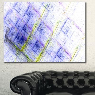 Designart Light Blue Fractal Grill Abstract CanvasWall Art