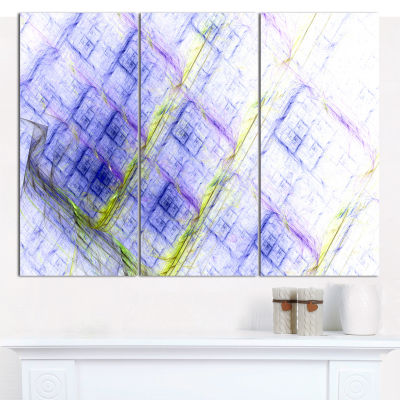 Designart Light Blue Fractal Grill Abstract CanvasWall Art - 3 Panels