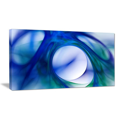 Designart Mystic Blue Fractal Abstract Canvas WallArt