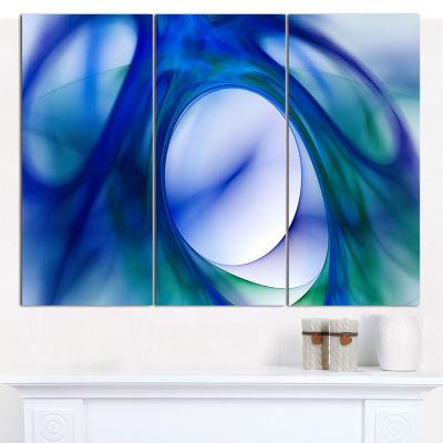 Designart Mystic Blue Fractal Abstract Canvas WallArt - 3 Panels
