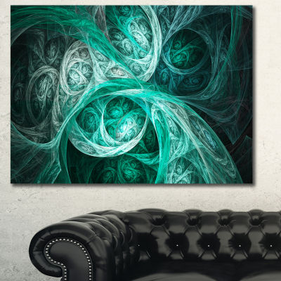 Designart Mystic Turquoise Fractal Abstract CanvasWall Art