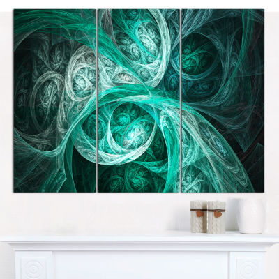 Design Art Mystic Turquoise Fractal Abstract CanvasWall Art - 3 Panels