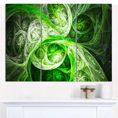 Design Art Mystic Green Fractal Abstract Canvas Wall Art - 3 Panels