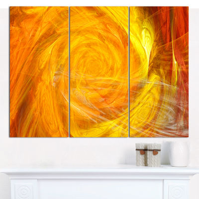 Designart Mystic Abstract Fractal Rose Abstract Canvas Wall Art - 3 Panels