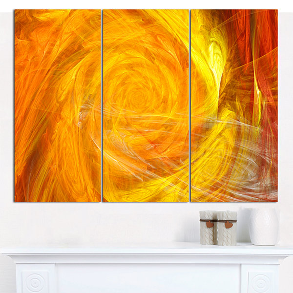 Design Art Mystic Abstract Fractal Rose Abstract Canvas Wall Art - 3 Panels