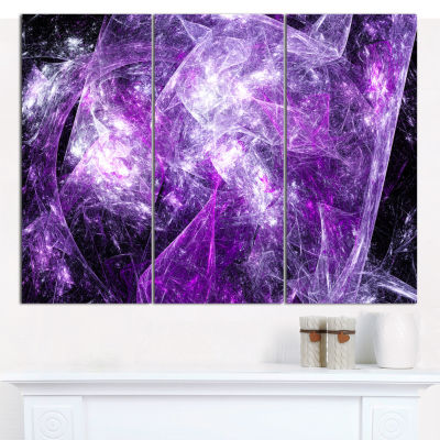 Designart Mystic Purple Fractal Abstract Canvas Wall Art - 3 Panels