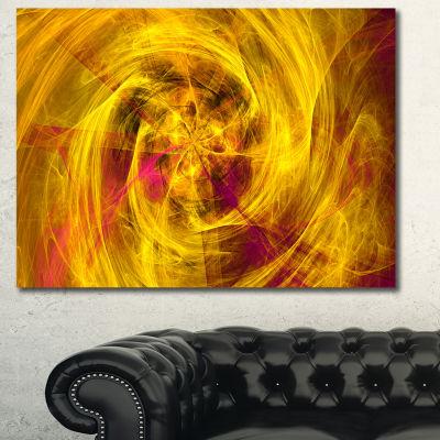 Designart Mystic Golden Fractal Abstract Canvas Wall Art