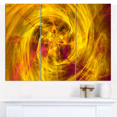 Designart Mystic Golden Fractal Abstract Canvas Wall Art - 3 Panels
